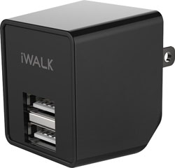 DUAL USB WALL CHARGER BLACK